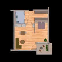 Einraumappartement 48m2