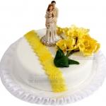 Hochzeitstorte Mit Gelbem Dekor Und Brautpaar Einstoeckig IMG 6878 WEB