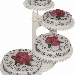 Hochzeitstorte Weiss Mit Braunen Ornamenten Und Zuckerrose WEB